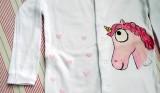 """Růžový jednorožec - 100% bavlněný bílý overal, ručně namalovaný, velikost 86 Veronika """"Tanísek"""" Kocková"""