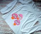 "Tričko triko bílé, dlouhý rukáv 100% bavlna - ručně malované - zrmzlina, zmrzliny, zmrzlinky - sladké, veselé, okaté, cute velikost 146 / 152 Veronika ""Tanísek"" Kocková"