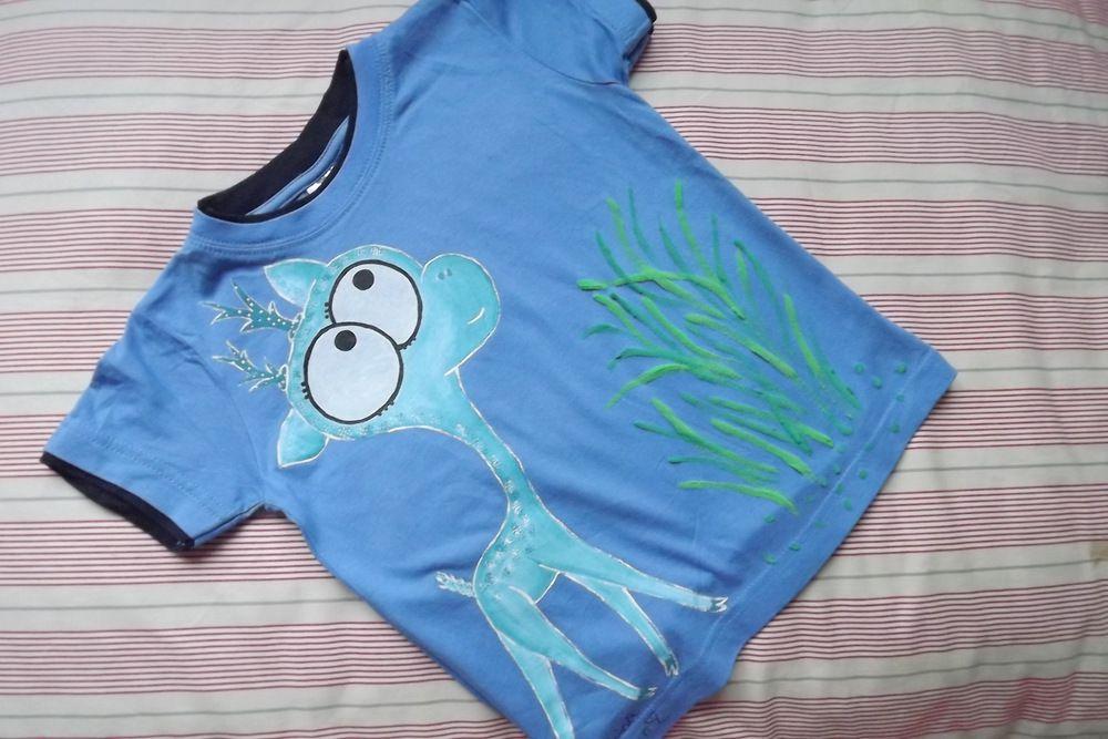"""Modrý jelínek - 100% bavlněné modré tričko ručně malované s krátkým rukávem - velikost 116 Veronika """"Tanísek"""" Kocková"""