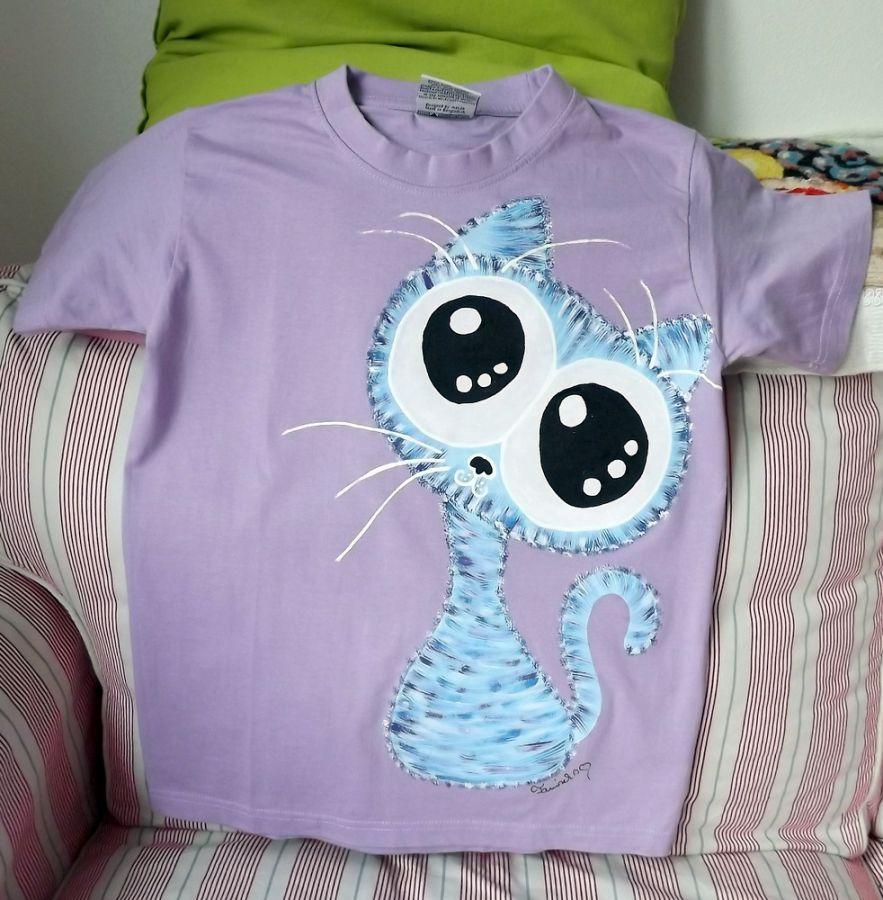 """Veselá okatá roztomilá kočka - fialové tričko 100% bavlna - ručně malované velikost XS Veronika """"Tanísek"""" Kocková"""