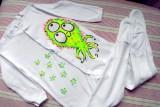 """Příšerka cthultu baby - 100% bavlněný bílý overal, ručně namalovaný, velikost 92 Veronika """"Tanísek"""" Kocková"""