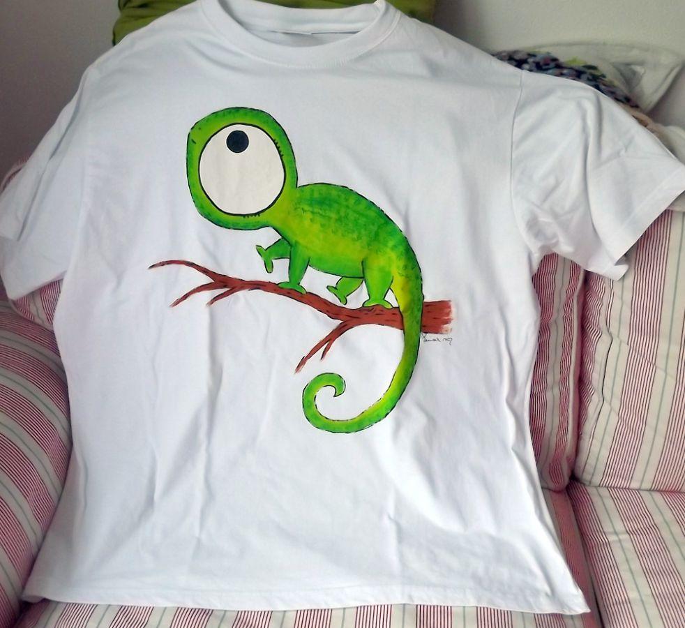 """Chameleon velký zelený na bílém XxXL Veronika """"Tanísek"""" Kocková"""