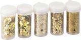 Glitry - zlaté opalizující třpytky - na foto 3