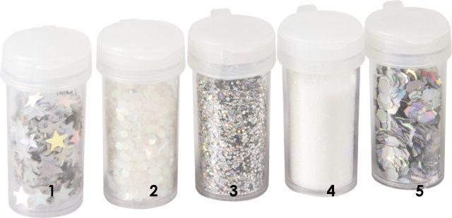 Stříbrné opalizujícíšestiúhelníky třpytky - glitry vhodné pro práci s fimem, papírem, cardmaking,scrapbook