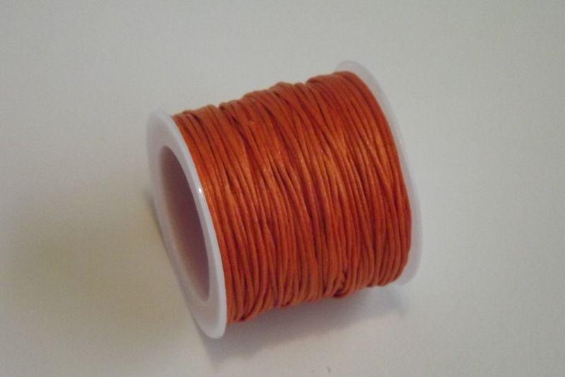 Bavlněná voskovaná šňůrka oranžová - návlekový materiál pro tvorbu šperků, dekorací, vhodná pro scrapbook, cardmaking, 1mm průměr, vhodná ke kombinaci se stužkami