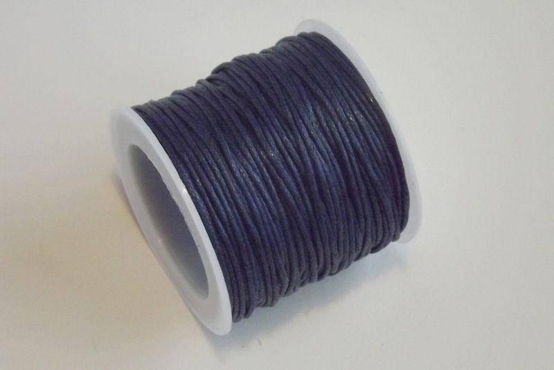 Bavlněná voskovaná šňůrka tmavomodrá- návlekový materiál pro tvorbu šperků, dekorací, vhodná pro scrapbook, cardmaking, 1mm průměr, tmavá,modrá, vhodná ke kombinaci se stužkami