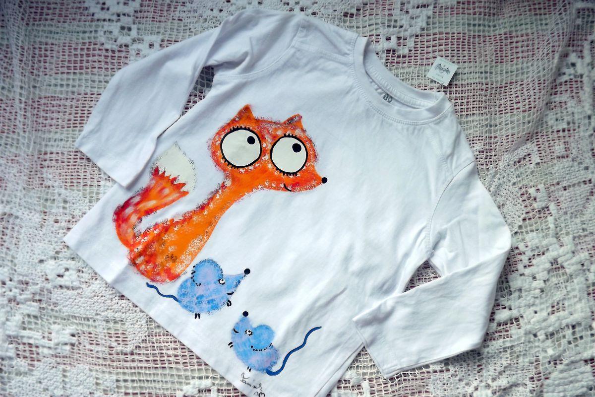 """Bílé tričko s dlouhým rukávem ručně malované - liška a myška, myšky, unisex střih pro chlapečka, holčičku,velikost 98 Veronika """"Tanísek"""" Kocková"""