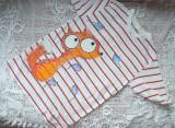Zvětšit fotografii - Bílé oranžovočerveně pruhované triko s liškou a myškami 146