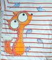 """Pruhované triko (bílá, červená, oranžová) krátký rukáv 100% bavlna - ručně malované - liška a myška, myšky, cute unisex střih velikost 146, pruhované, veselé Veronika """"Tanísek"""" Kocková"""