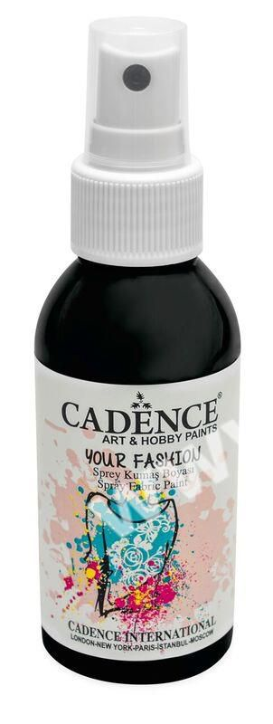 Černá - Cadence - barevný sprej na textil - Your fashion - 100ml - vhodné pro práci se šablonami (šablonou), šablonování