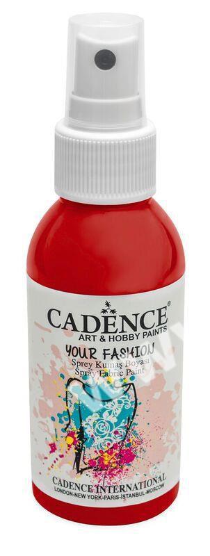 Červená - Cadence - barevný sprej na textil - Your fashion - 100ml - vhodné pro práci se šablonami (šablonou), šablonování