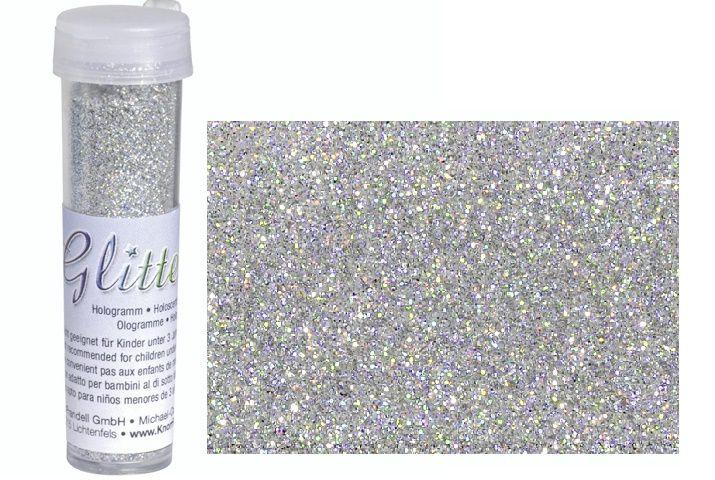Jemné stříbrné třpytky - glitry- holografické - opalizující - vhodné pro scrapbook, cardmaking, práci s fimem, barva stříbrná,fialová, červená, zelená, žlutá knorr prandell
