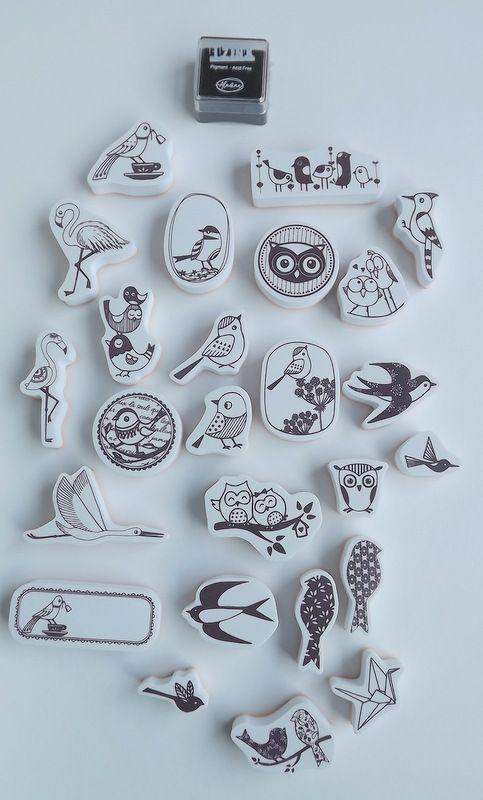 Ptáčci, ptáčkové - sada gumových - pěnových razítek vhodných na scrapbook, cardmaking, tiskání na textil,dětské tvoření,razítka jsou menší nez Aladine stampo textile, možný otisk polymerů, keramiky, hluboká textura, přesný otisk