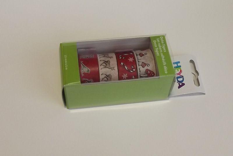 Sada papírových washi pásek s kovovým oddělovačem ve funkční krabičce - pro tvorbu scrapbooking, cardmaking, koláže, dekorování šesitů, alb, přání - houby, muchomůrky, sovy, sýček, pták, ptáčci, lízátka, vločky, srnky, laně, červená, bílá