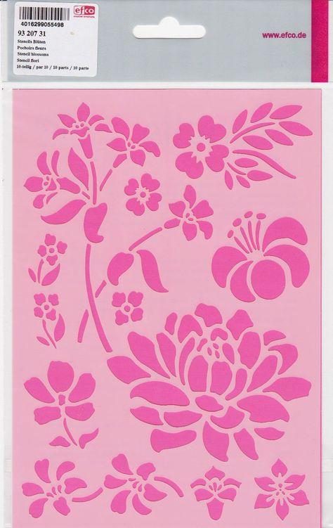 Květiny- plastová šablona pro práci s textilem, papírem, šablonování n azeď a jiné materiály, mixed media, scrapbook, cardmaking