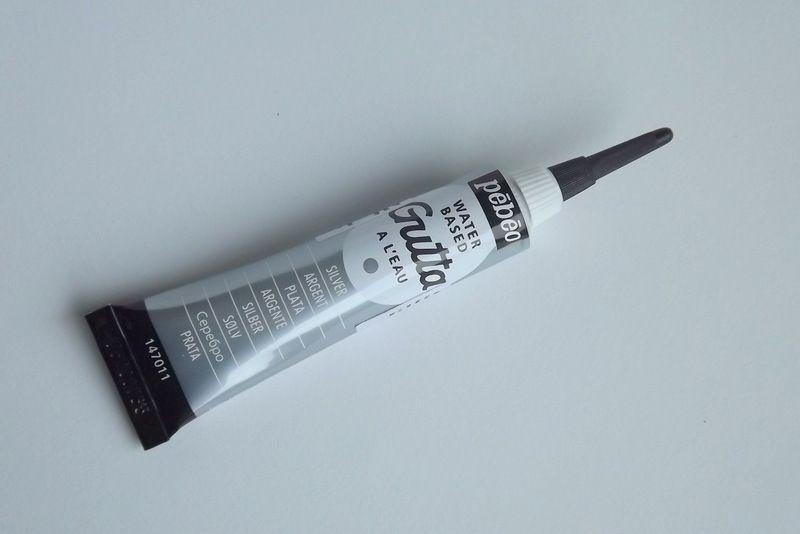 Stříbrná - Pebeo - Kontura na textil a hedvábí - Guta v tubě - velmi tenký hrot