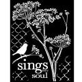 Pták a květiny - šablona na textil