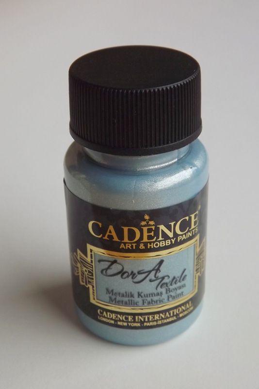Aqua - světle modrá metalická barva na textil - Cadence DorA - zdravotně nezávadná, 50ml