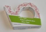 Průhledná foliová lepicí páska potisk srdíčka - pro tvorbu přání (cardmaking). scrapbook, výrobu dekorací. 10metrů, trhací zoubky. izolepa