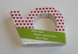 Bílá foliová lepicí páska potisk drobná červená srdíčka - pro tvorbu přání (cardmaking). scrapbook, výrobu dekorací. 10metrů, trhací zoubky. izolepa