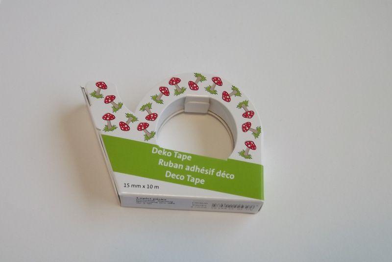 Průhledná foliová lepicí páska potisk muchomůrky- pro tvorbu přání (cardmaking). scrapbook, výrobu dekorací. 10metrů, trhací zoubky. izolepa