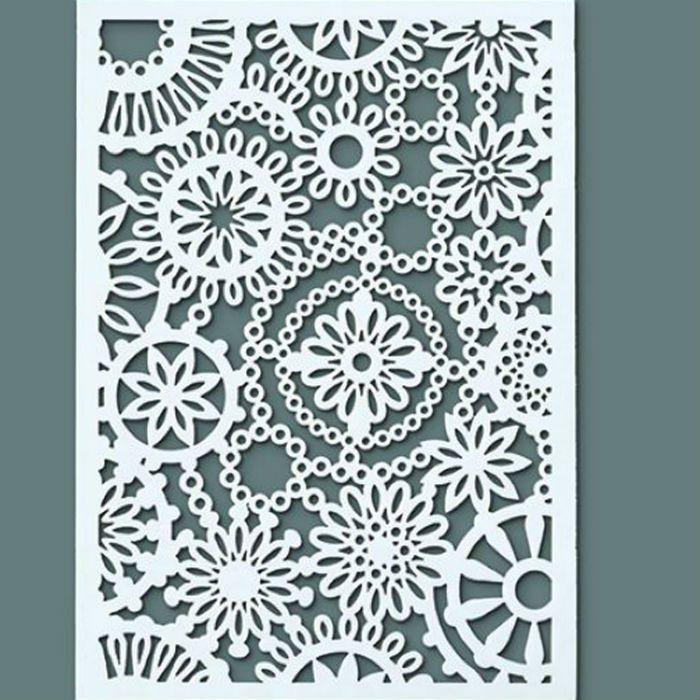 Kvítky - plastová šablona pro práci s textilem, papírem, šablonování n azeď a jiné materiály, mixed media, scrapbook, cardmaking
