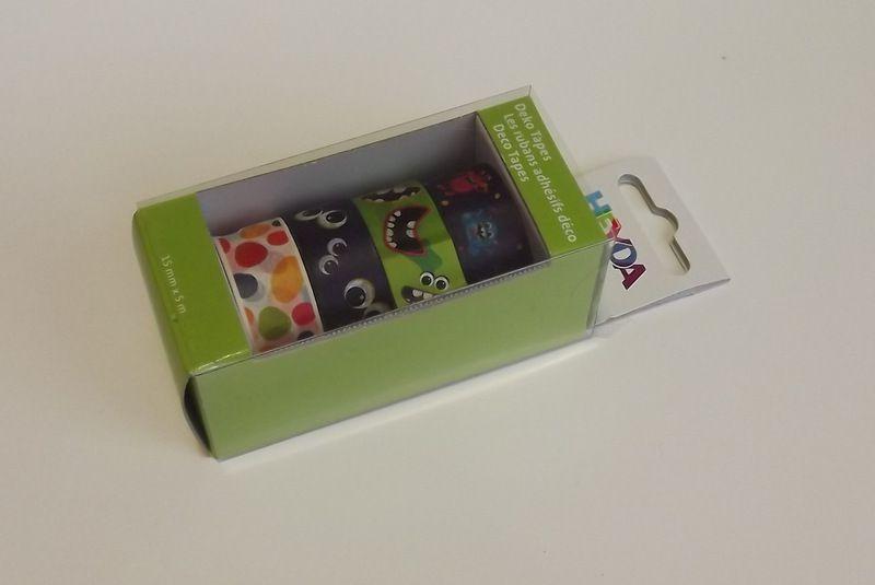 Sada papírových washi pásek s kovovým oddělovačem ve funkční krabičce - pro tvorbu scrapbooking, cardmaking, koláže, dekorování šesitů, alb, přání - fialová, zelenáflekay, příšerka, příšerky, monster, úsměvy, oči,vajíčka,