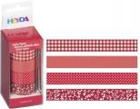 Sada papírových washi pásek s kovovým oddělovačem ve funkční krabičce - pro tvorbu scrapbooking, cardmaking, koláže, dekorování šesitů, alb, přání -červená, bílá, čtverečky, puntíky, jednobarevná, květinový vzor,