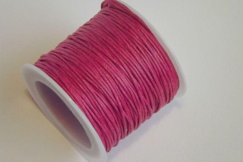 Bavlněná voskovaná šňůrka sytá růžová - návlekový materiál pro tvorbu šperků, dekorací, vhodná pro scrapbook, cardmaking, 1mm průměr