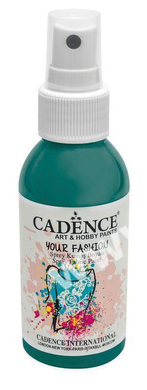 Smaragdově zelená - Cadence - barevný sprej na textil - Your fashion - 100ml - vhodné pro práci se šablonami (šablonou), šablonování