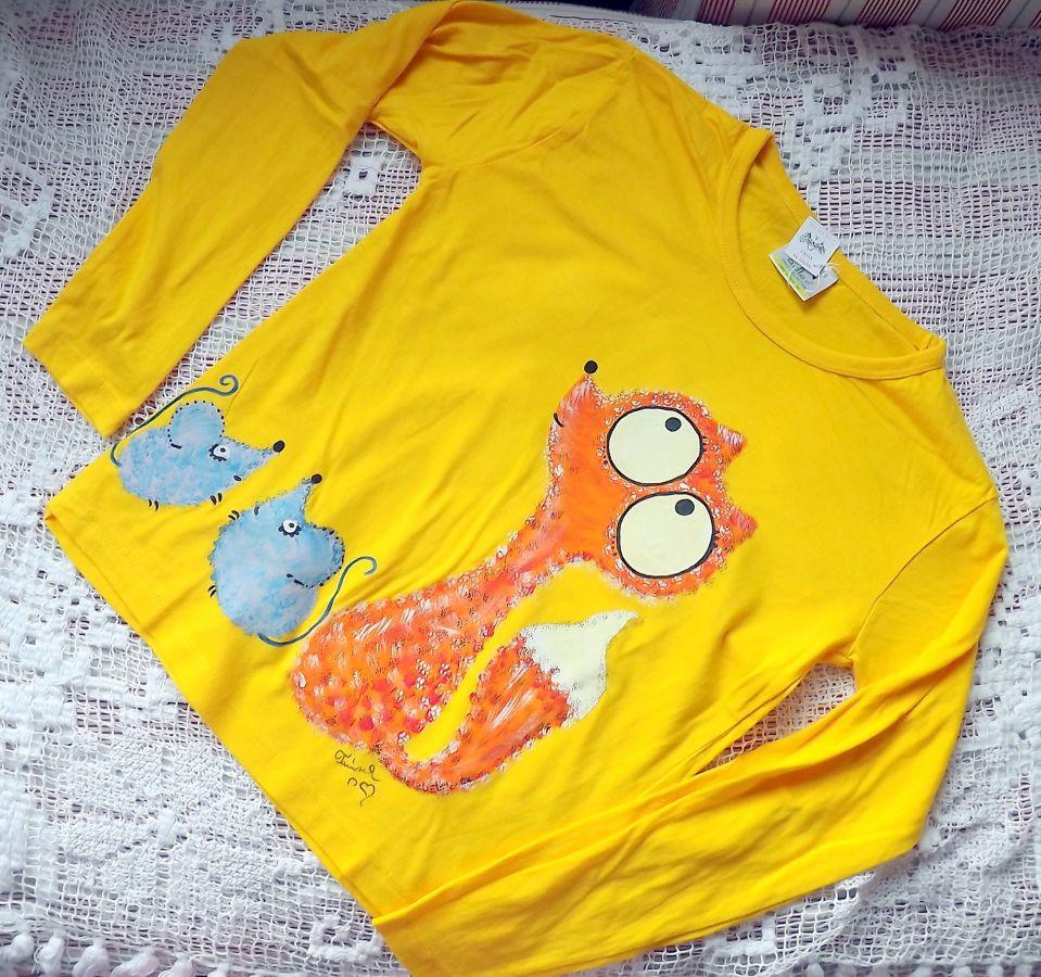 """Žluté triko dlouhý rukáv 100% bavlna - ručně malované - liška a myška, myšky, cute,velikost 140 Veronika """"Tanísek"""" Kocková"""
