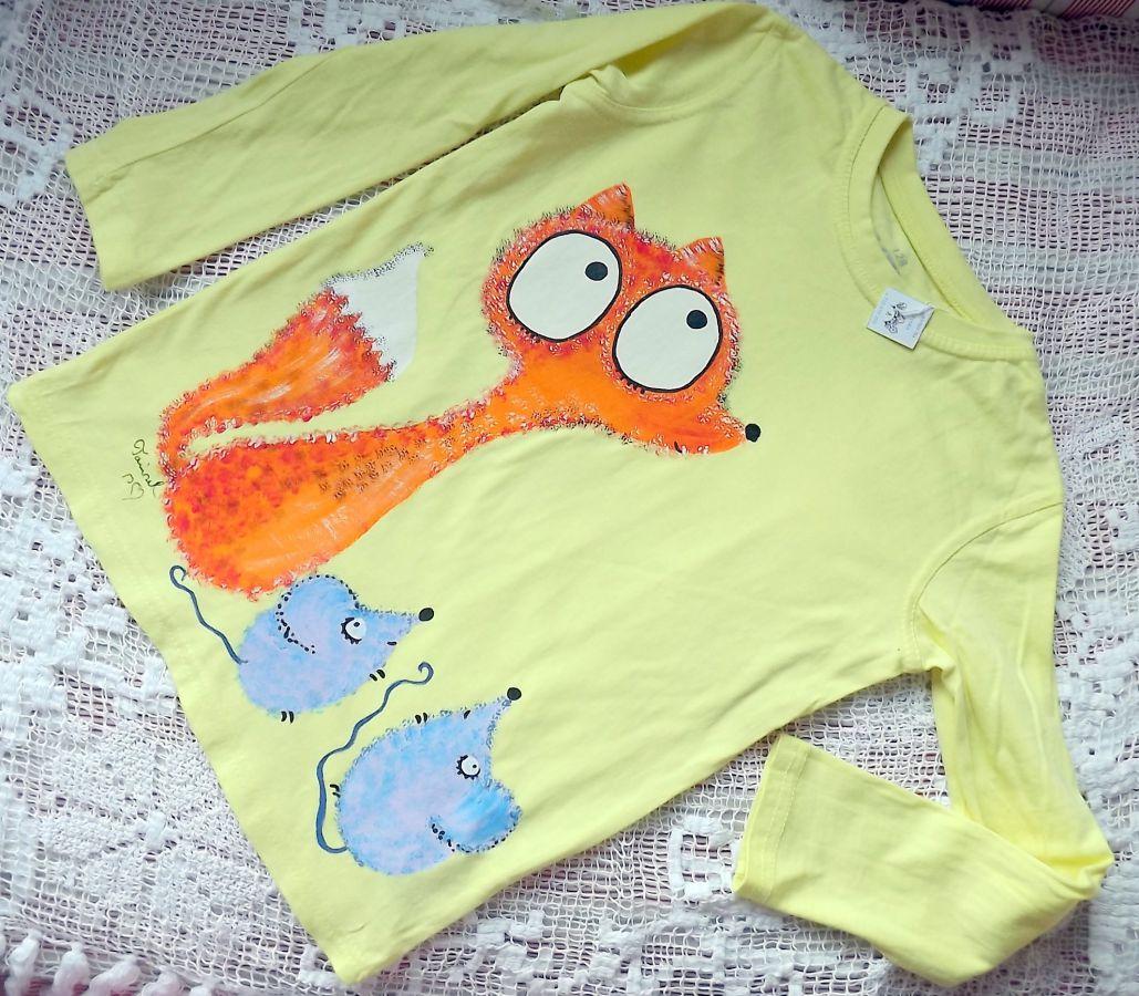 """Žluté triko dlouhý rukáv 100% bavlna - ručně malované - liška a myška, myšky, cute, velikost 128, 7-8 let Veronika """"Tanísek"""" Kocková"""