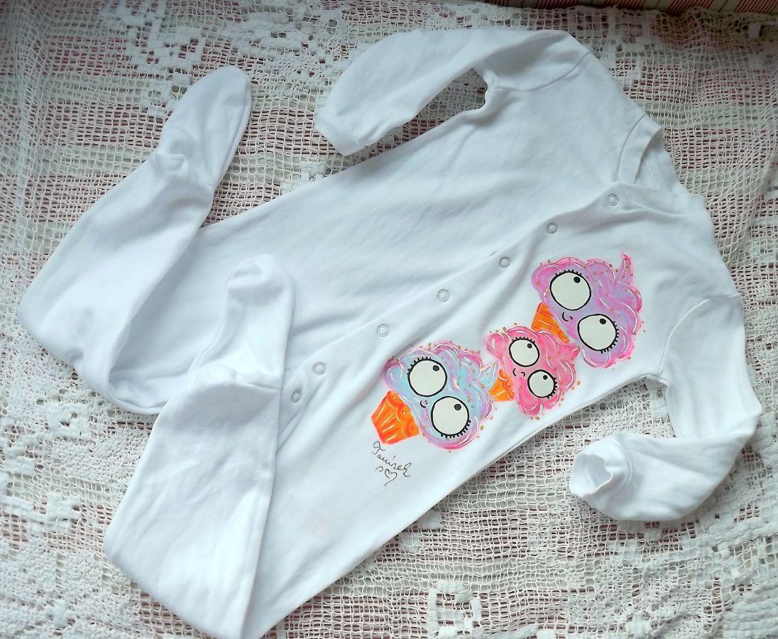 """Zmrzliny - zmrzlinky 100% bavlněný bílý overal s dlouhými rukávy a ťapkami - ručně namalovaný, velikost 86veselý, cute, roztomilý, dárek, pro holčičku Veronika """"Tanísek"""" Kocková"""