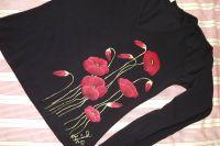 """Vlčí máky L DR - Černé ručně malované elegantní dámské tričko s červenými vlčími máky. Dlouhý rukáv Veronika """"Tanísek"""" Kocková"""