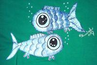 """Dvě modré ryby KR XL - 100% bavlněné zelené tričko unisex střihu, ručně namalované ryby. Krátký rukáv Veronika """"Tanísek"""" Kocková"""