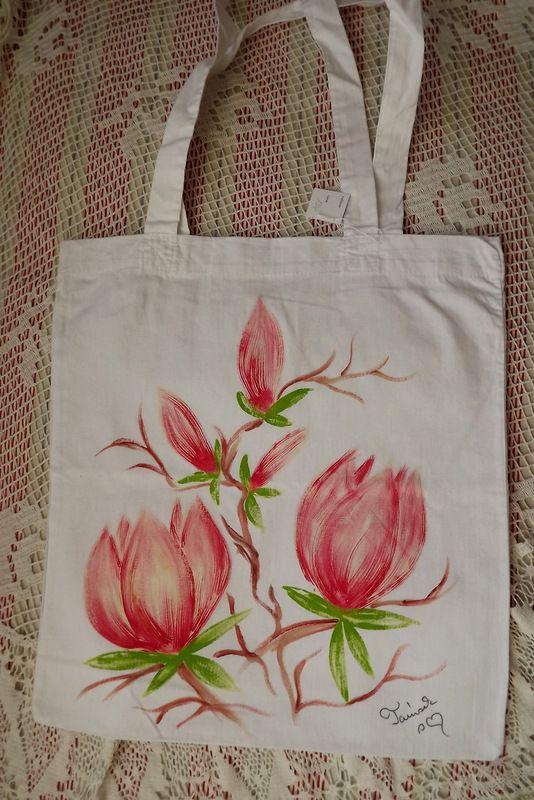"""Třpytivé magnolie - barevné tašky - 100% bavlněné Veronika """"Tanísek"""" Kocková"""