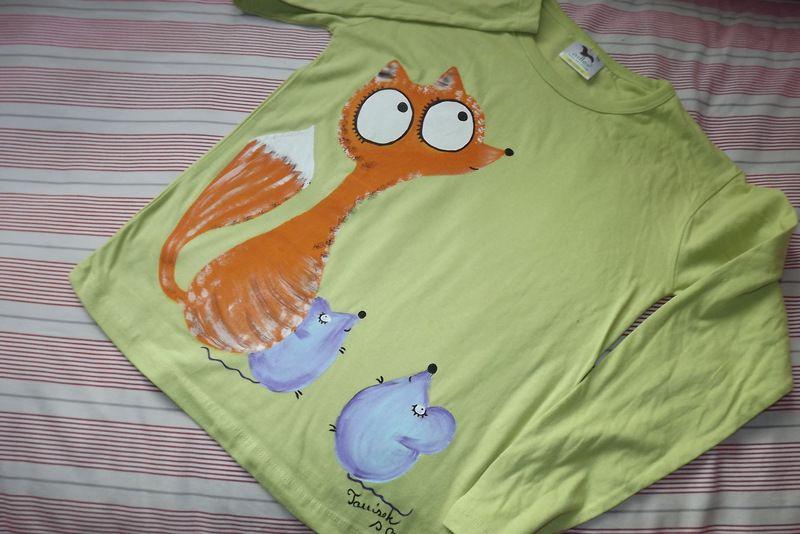 "Liška a myška zelené dr 140 Světlezelené tričko s dlouhými rukávy 100% bavlna - ručně malované - liška a myška, myšky, cute, Veronika ""Tanísek"" Kocková"