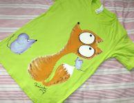 """Liška a myška zelené kr 146 Světlezelené tričko s krátkými rukávy 100% bavlna - ručně malované - liška a myška, myšky, cute, Veronika """"Tanísek"""" Kocková"""