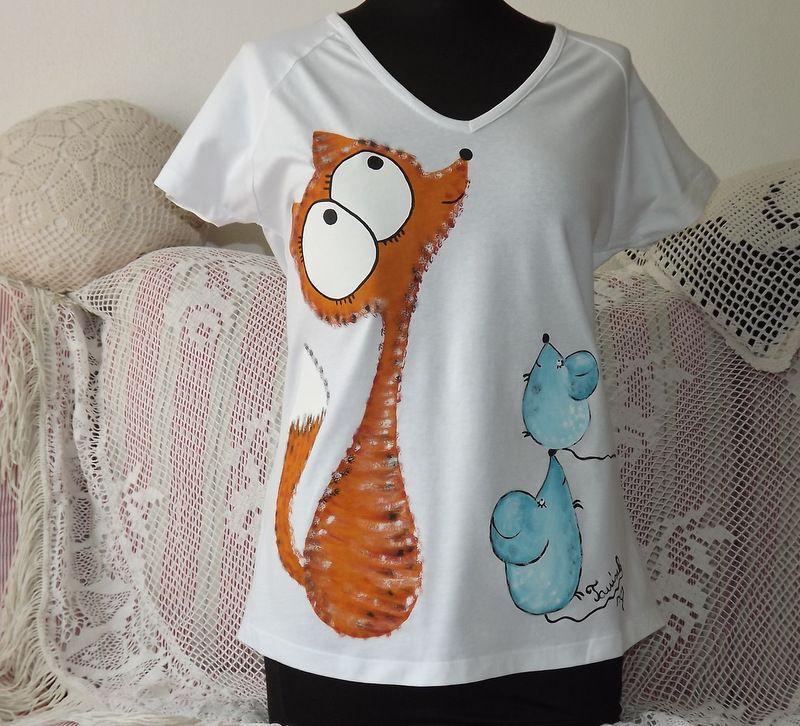 triko ručně malované s liškou a myškami