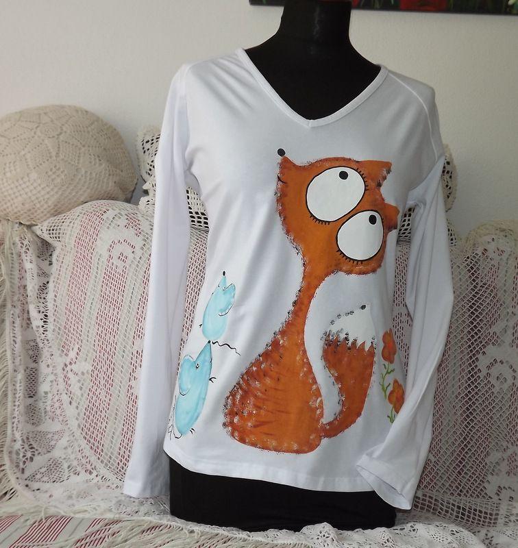 veselé elegantní tričko s liškou a myškami velikost xl