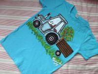 Modré tričko s modrým traktorem 122