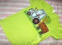 Zelené tričko s modrým traktorem S