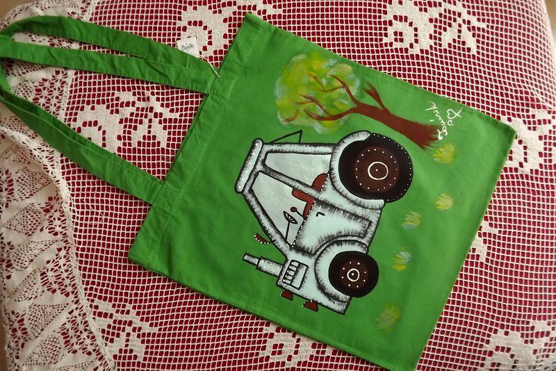 """Traktor - látková taška přes rameno 100% bavlna, ručně malovaná Veronika """"Tanísek"""" Kocková"""