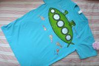 """Ponorka S - tyrkysové tričko s krátkým rukávem s namalovanou ponorkou a rybami. Veselé, ručně malované. Veronika """"Tanísek"""" Kocková"""