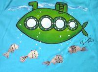 """Zelená ponorka velikost 110 - tyrkysové tričko s krátkým rukávem Veronika """"Tanísek"""" Kocková"""