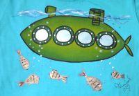 """Zelená ponorka velikost 134 - tyrkysové tričko s krátkým rukávem Veronika """"Tanísek"""" Kocková"""