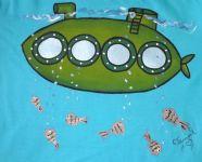 """Zelená ponorka velikost 146 - tyrkysové tričko s krátkým rukávem Veronika """"Tanísek"""" Kocková"""