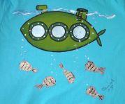"""Zelená ponorka velikost XS- tyrkysové tričko s krátkým rukávem s namalovanou ponorkou a rybami. Veselé, ručně malované. Veronika """"Tanísek"""" Kocková"""