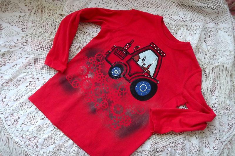"""Traktor dr. 128 červené triko s dlouhým rukávem Veronika """"Tanísek"""" Kocková"""