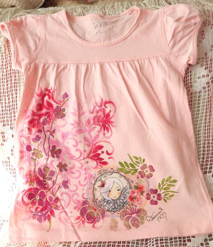"""Dívka s růžemi kr. 116 - růžové tričko Veronika """"Tanísek"""" Kocková"""